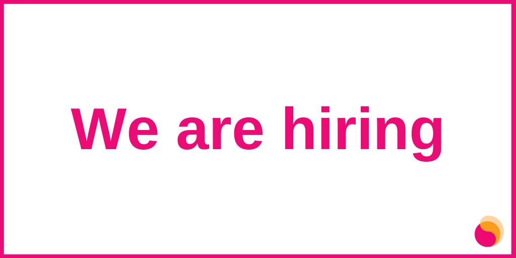 "Graphic on a white background with pink text in the centre reading ""We are hiring"" with a Mental Health Reform icon in the bottom right-hand-side corner. Content surrounded by a pink boarder."