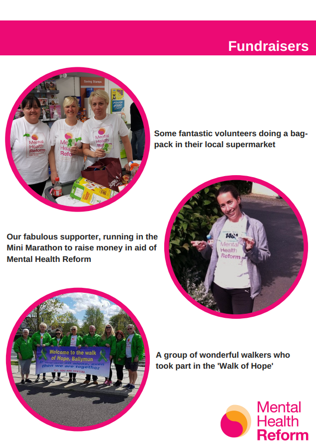 Information page on people who have fundraised for Mental Health Reform previously - a page taken from the Fundraising Toolkit