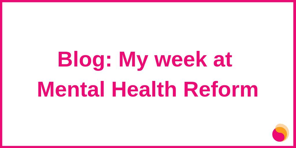 Blog: My week at Mental Health Reform