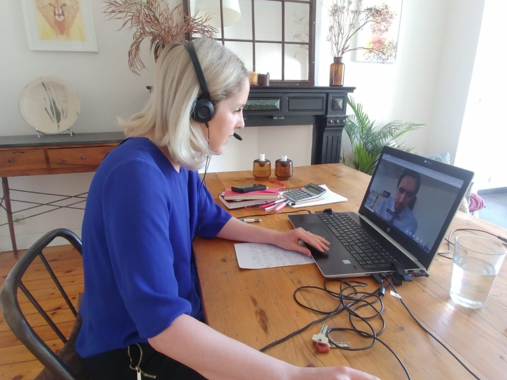 Photo of Fiona Coyle and Minister Simon Harris via videocall in May 2020